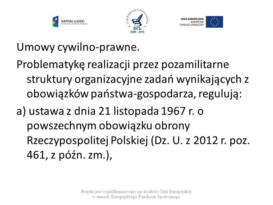 Umowy cywilno-prawne. Problematykę realizacji przez pozamilitarne struktury organizacyjne zadań wynikających z obowiązków państwa-gospodarza, regulują