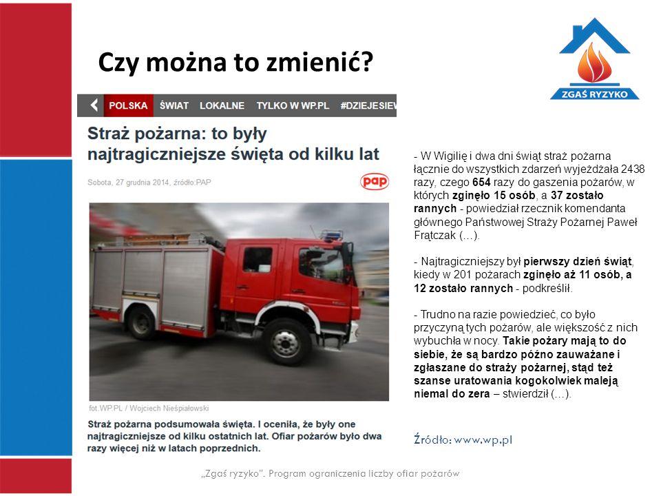 """Czy można to zmienić? """"Zgaś ryzyko"""". Program ograniczenia liczby ofiar pożarów Źródło: www.wp.pl - W Wigilię i dwa dni świąt straż pożarna łącznie do"""