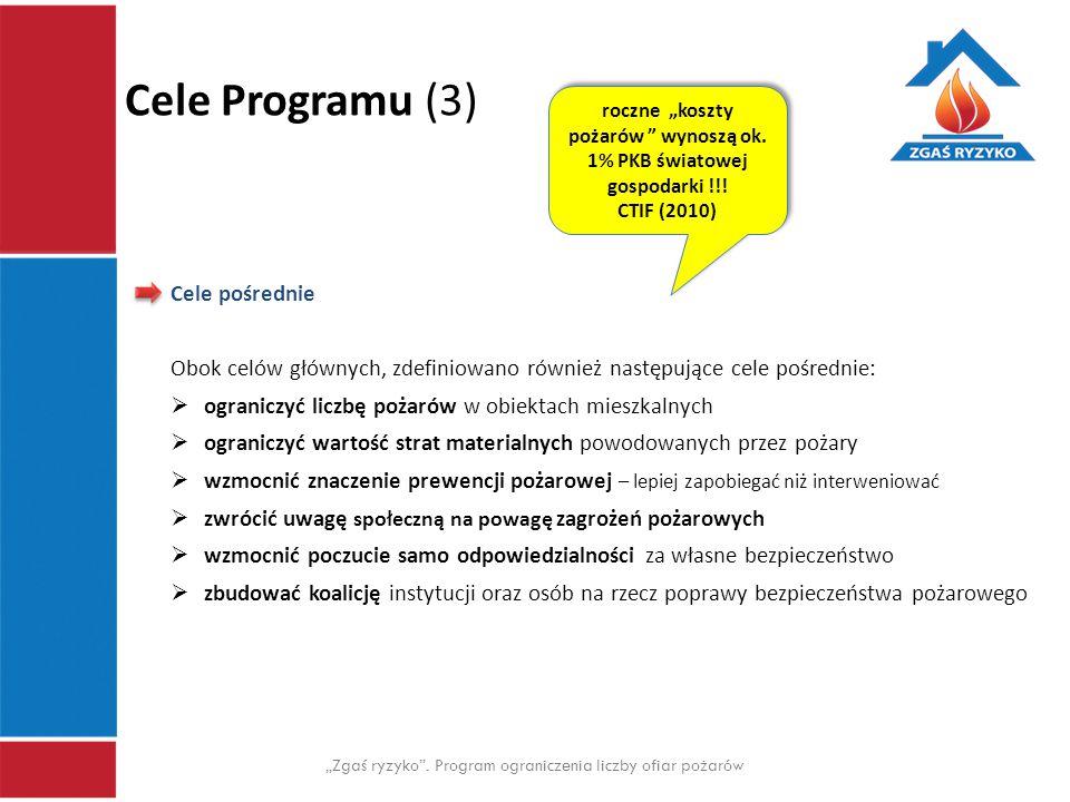 """Cele Programu (3) """"Zgaś ryzyko"""". Program ograniczenia liczby ofiar pożarów Cele pośrednie Obok celów głównych, zdefiniowano również następujące cele p"""