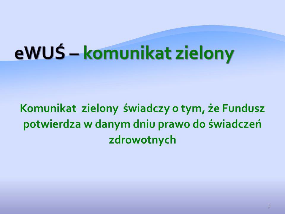 Komunikat zielony świadczy o tym, że Fundusz potwierdza w danym dniu prawo do świadczeń zdrowotnych 3