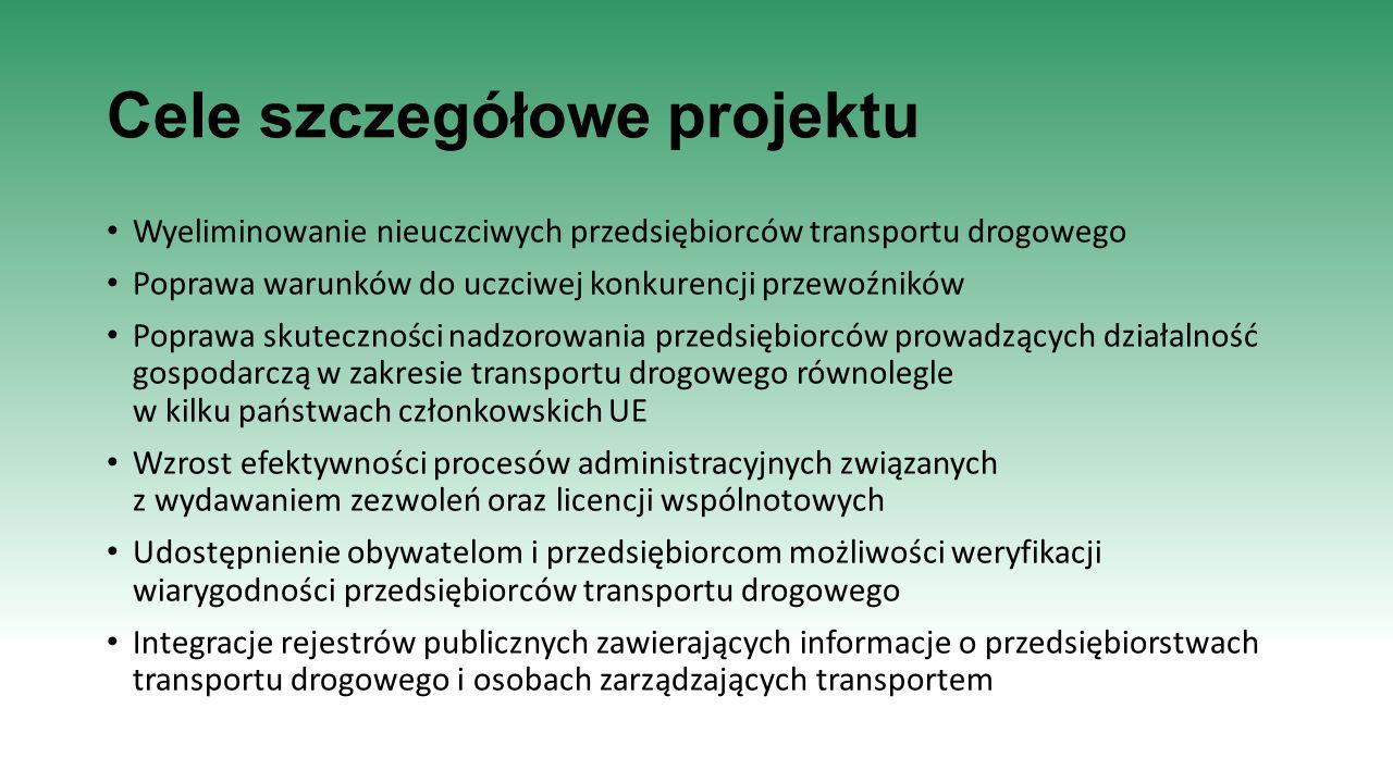 Cele szczegółowe projektu Wyeliminowanie nieuczciwych przedsiębiorców transportu drogowego Poprawa warunków do uczciwej konkurencji przewoźników Popra