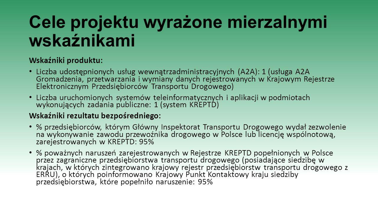 Cele projektu wyrażone mierzalnymi wskaźnikami Wskaźniki produktu: Liczba udostępnionych usług wewnątrzadministracyjnych (A2A): 1 (usługa A2A Gromadze