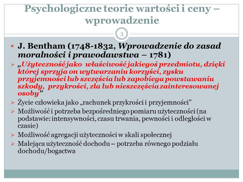 Powstanie teorii użyteczności Herman Heinrich Gossen (1810-58, 1854: Entwicklung der Gesetze menschlichen Verkehrs und der daraus fliessenden Regeln fϋr menschliches Handeln) właściwy prekursor teorii użyteczności (jako psychologicznej teorii wartości) Marginalna użyteczność maleje w odniesieniu nie tylko do dóbr, ale także pracy, dochodu, czy pieniądza Nie jest możliwy bezpośredni (Bentham) pomiar użyteczności Punktem odniesienia użyteczności (pomiaru użyteczności) jest pieniądz (tzw.