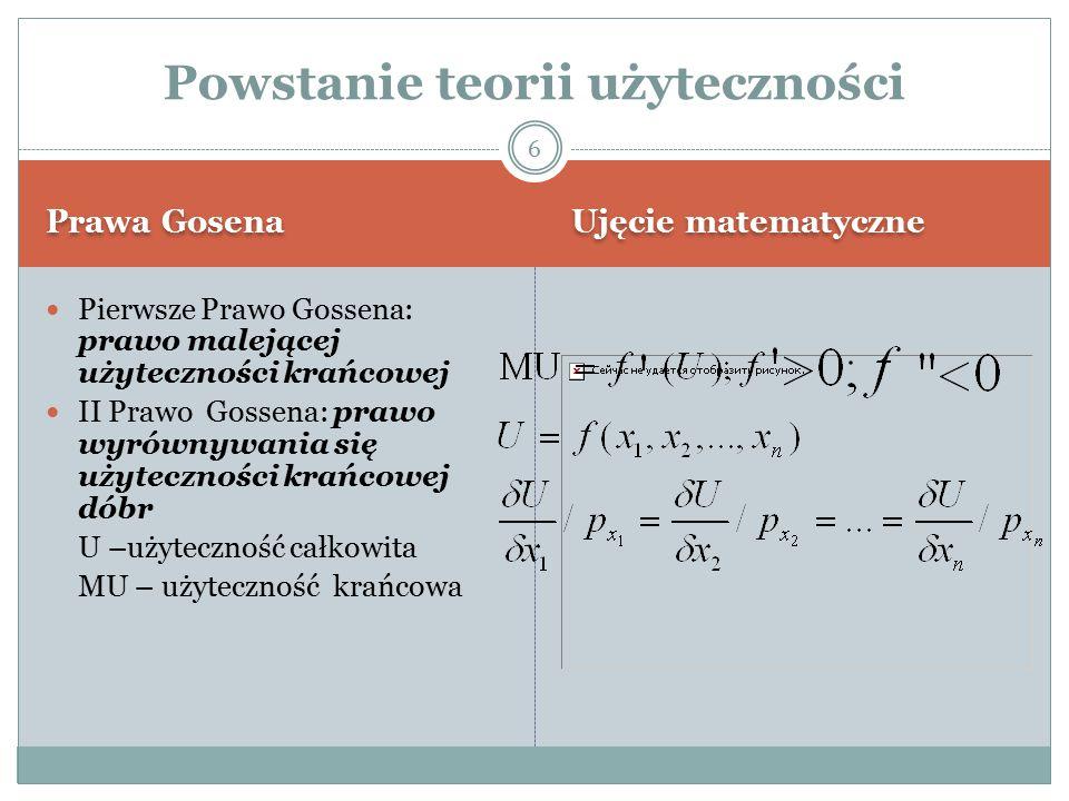 Prawa Gosena Ujęcie matematyczne Pierwsze Prawo Gossena: prawo malejącej użyteczności krańcowej II Prawo Gossena: prawo wyrównywania się użyteczności