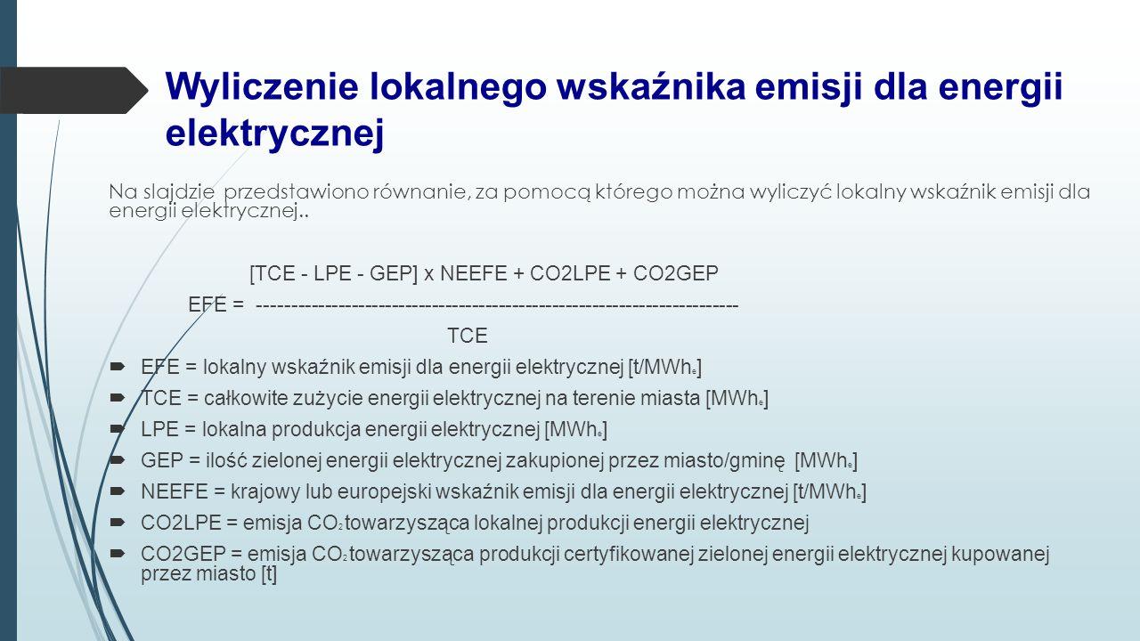 Wyliczenie lokalnego wskaźnika emisji dla energii elektrycznej Na slajdzie przedstawiono równanie, za pomocą którego można wyliczyć lokalny wskaźnik e