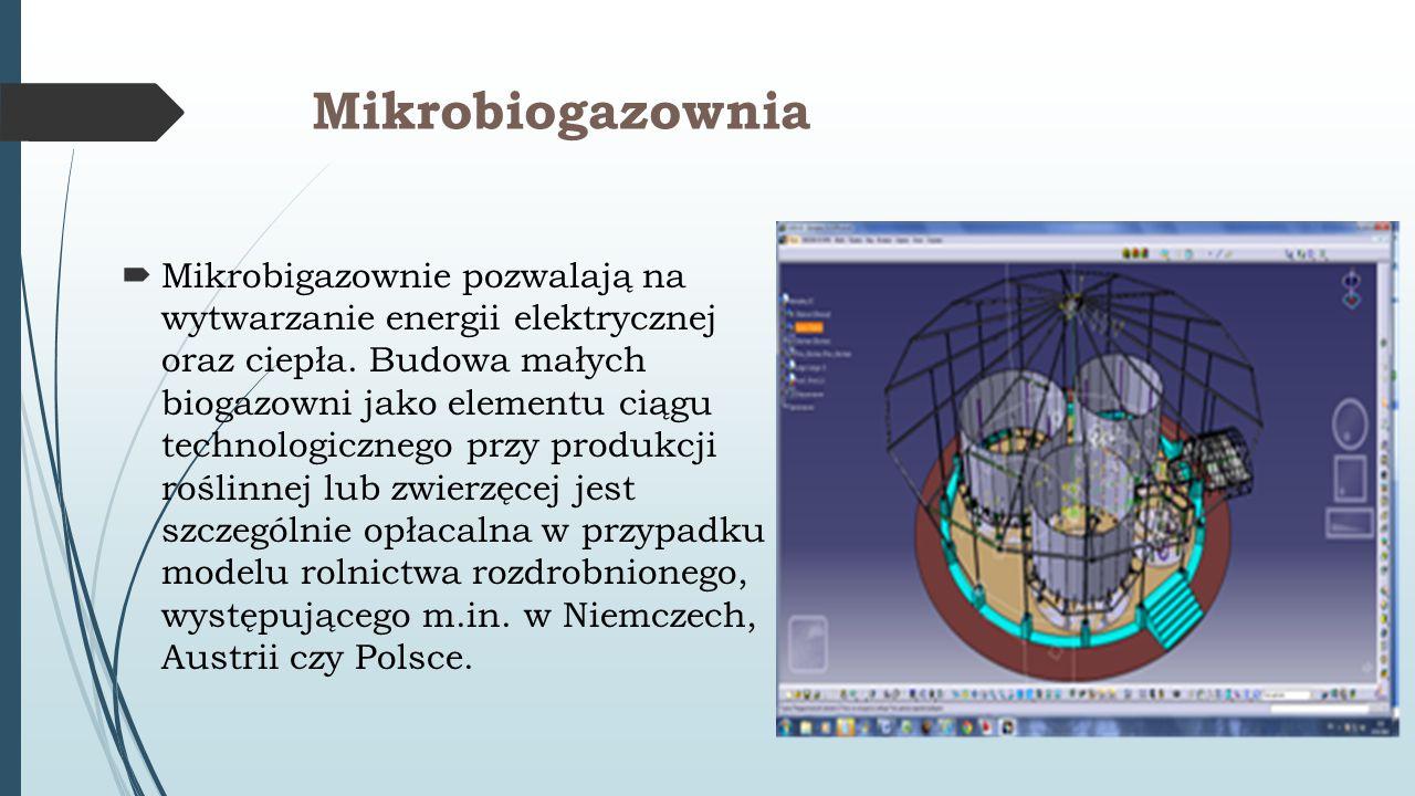 Mikrobiogazownia  Mikrobigazownie pozwalają na wytwarzanie energii elektrycznej oraz ciepła. Budowa małych biogazowni jako elementu ciągu technologic
