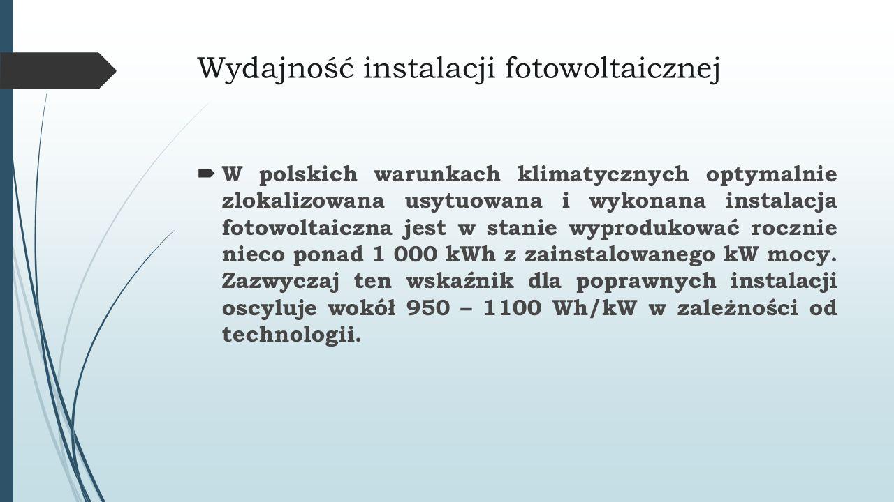 Wydajność instalacji fotowoltaicznej  W polskich warunkach klimatycznych optymalnie zlokalizowana usytuowana i wykonana instalacja fotowoltaiczna jes