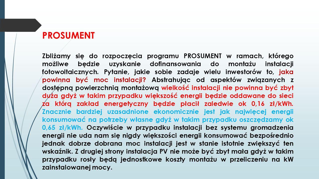 PROSUMENT Zbliżamy się do rozpoczęcia programu PROSUMENT w ramach, którego możliwe będzie uzyskanie dofinansowania do montażu instalacji fotowoltaiczn
