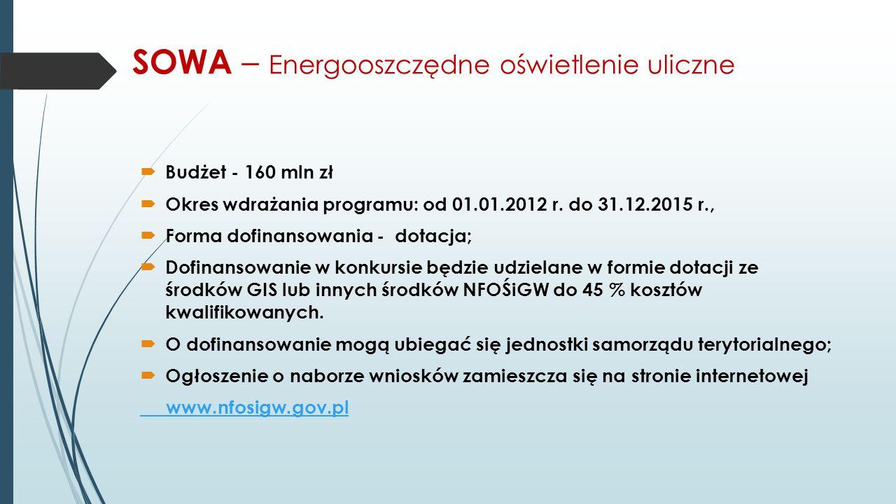 SOWA – Energooszczędne oświetlenie uliczne  Budżet - 160 mln zł  Okres wdrażania programu: od 01.01.2012 r. do 31.12.2015 r.,  Forma dofinansowania