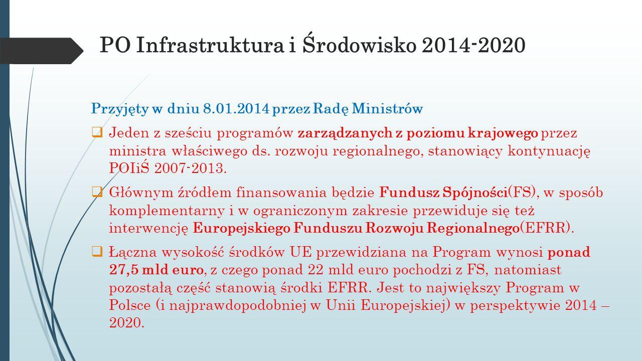 PO Infrastruktura i Środowisko 2014-2020 Przyjęty w dniu 8.01.2014 przez Radę Ministrów  Jeden z sześciu programów zarządzanych z poziomu krajowego p