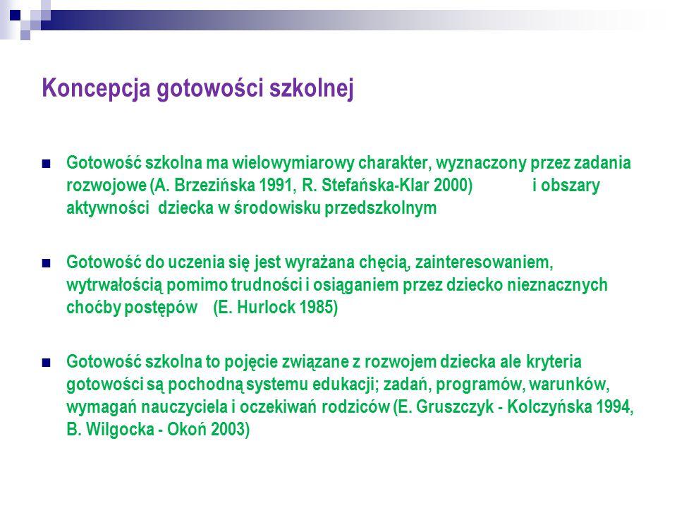 Koncepcja gotowości szkolnej Gotowość szkolna ma wielowymiarowy charakter, wyznaczony przez zadania rozwojowe (A. Brzezińska 1991, R. Stefańska-Klar 2