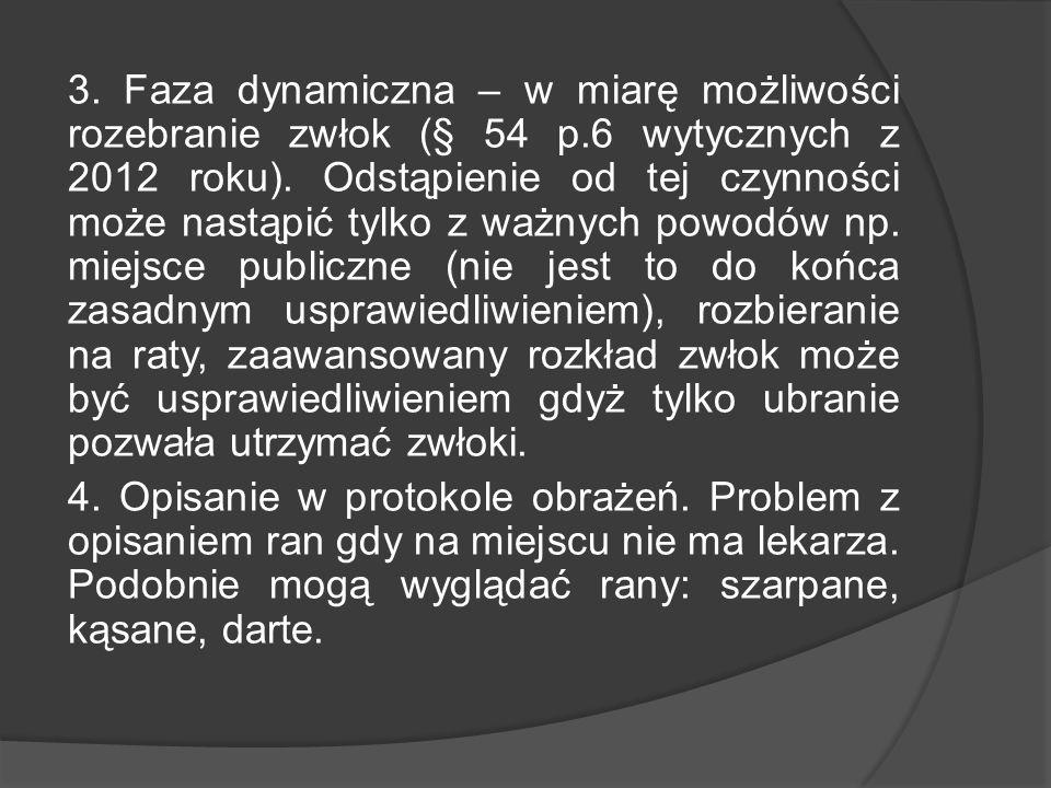 3. Faza dynamiczna – w miarę możliwości rozebranie zwłok (§ 54 p.6 wytycznych z 2012 roku). Odstąpienie od tej czynności może nastąpić tylko z ważnych