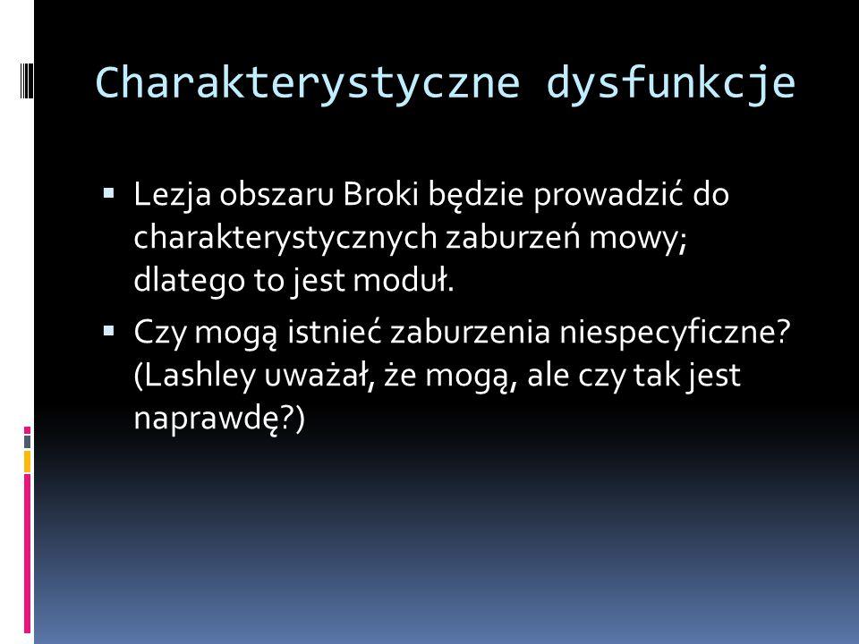 Charakterystyczne dysfunkcje  Lezja obszaru Broki będzie prowadzić do charakterystycznych zaburzeń mowy; dlatego to jest moduł.  Czy mogą istnieć za