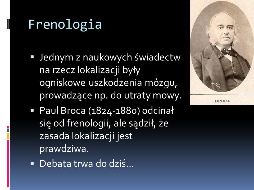 Frenologia  Jednym z naukowych świadectw na rzecz lokalizacji były ogniskowe uszkodzenia mózgu, prowadzące np. do utraty mowy.  Paul Broca (1824-188