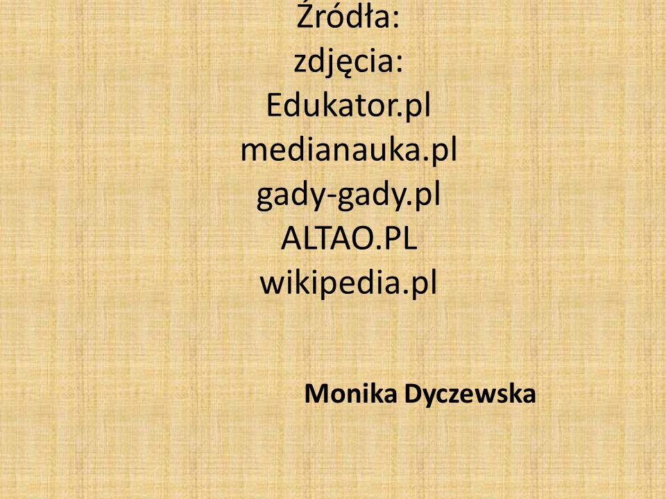 Źródła: zdjęcia: Edukator.pl medianauka.pl gady-gady.pl ALTAO.PL wikipedia.pl Monika Dyczewska