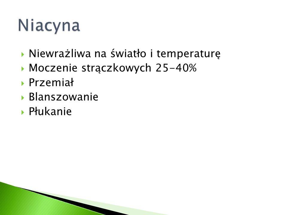  Niewrażliwa na światło i temperaturę  Moczenie strączkowych 25-40%  Przemiał  Blanszowanie  Płukanie