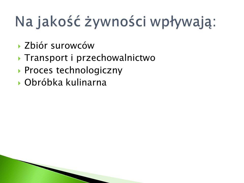  Zbiór surowców  Transport i przechowalnictwo  Proces technologiczny  Obróbka kulinarna