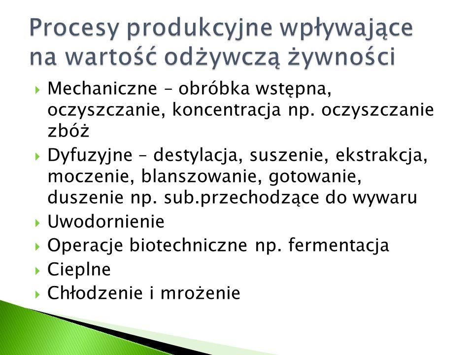  Podwyższenie dostępności biologicznej składników pokarmowych  Ułatwienie strawności bądź jej umożliwienie  Fermentacja lub zakwaszenie zmniejsza straty witaminy C, B 6 i B 1