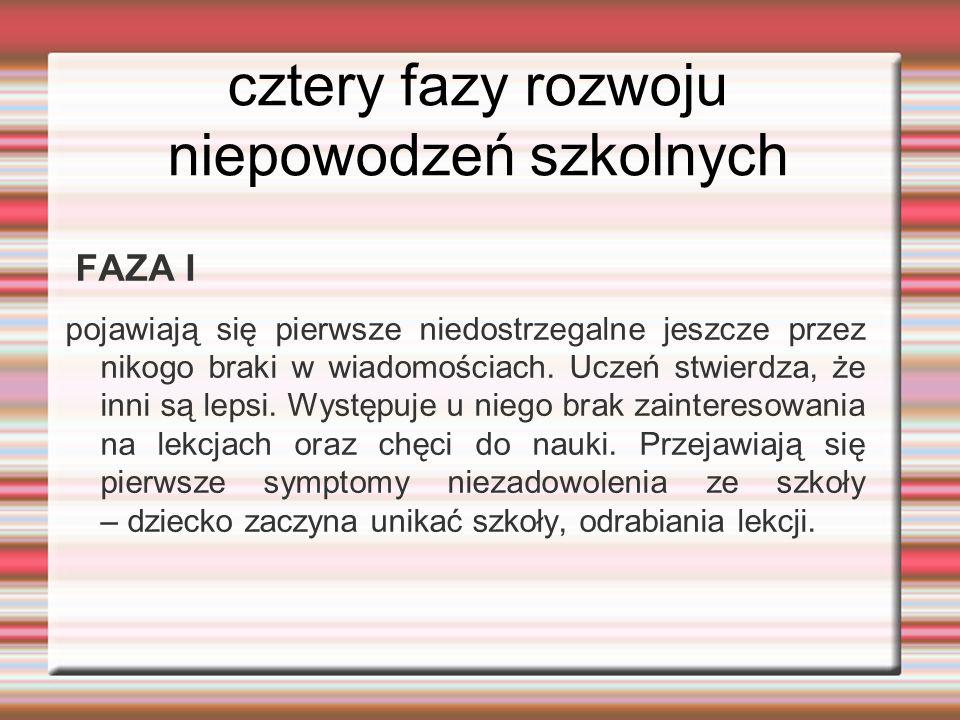 cztery fazy rozwoju niepowodzeń szkolnych FAZA I pojawiają się pierwsze niedostrzegalne jeszcze przez nikogo braki w wiadomościach. Uczeń stwierdza, ż