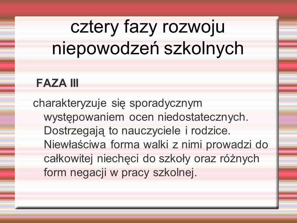 cztery fazy rozwoju niepowodzeń szkolnych FAZA III charakteryzuje się sporadycznym występowaniem ocen niedostatecznych. Dostrzegają to nauczyciele i r