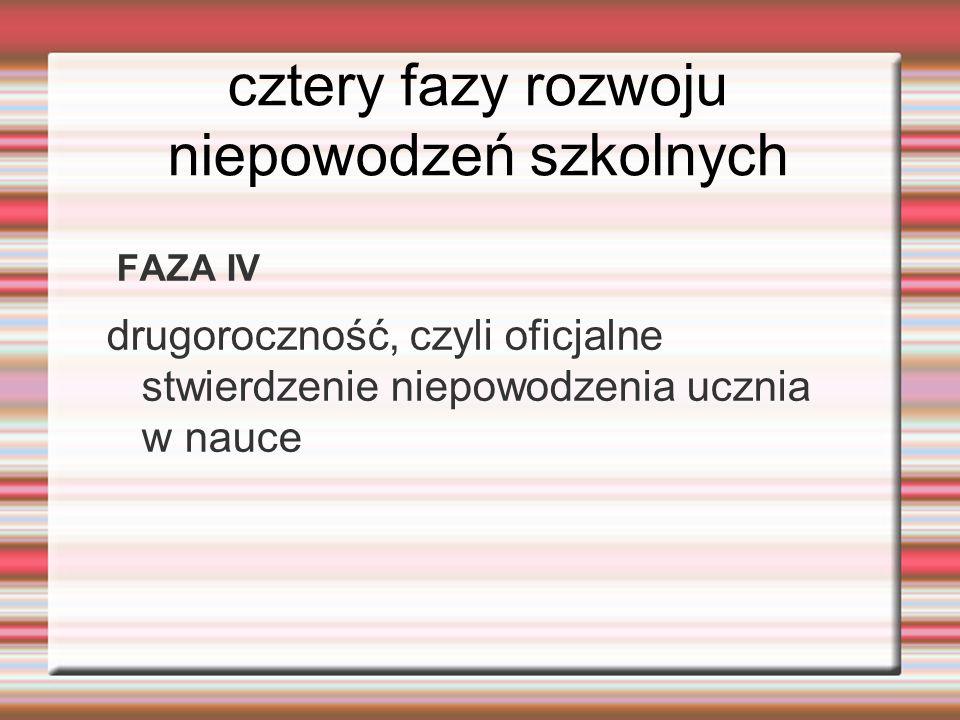 cztery fazy rozwoju niepowodzeń szkolnych FAZA IV drugoroczność, czyli oficjalne stwierdzenie niepowodzenia ucznia w nauce