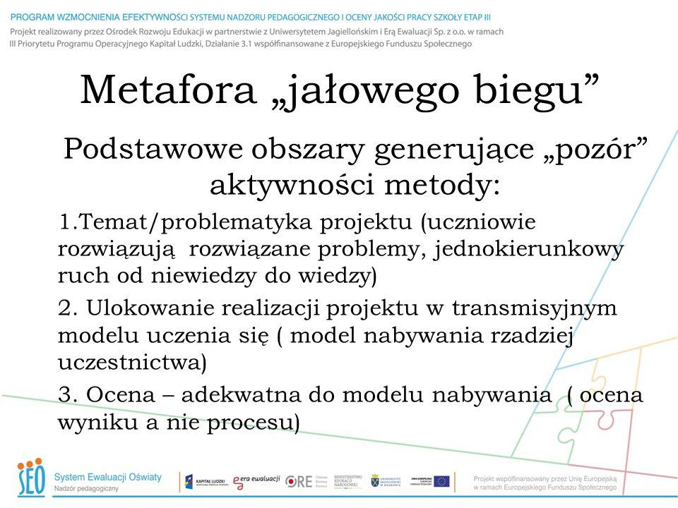 """Metafora """"jałowego biegu"""" Podstawowe obszary generujące """"pozór"""" aktywności metody: 1.Temat/problematyka projektu (uczniowie rozwiązują rozwiązane prob"""