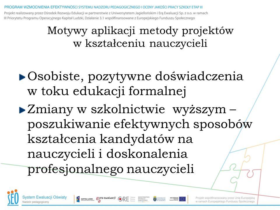 Motywy aplikacji metody projektów w kształceniu nauczycieli Osobiste, pozytywne doświadczenia w toku edukacji formalnej Zmiany w szkolnictwie wyższym