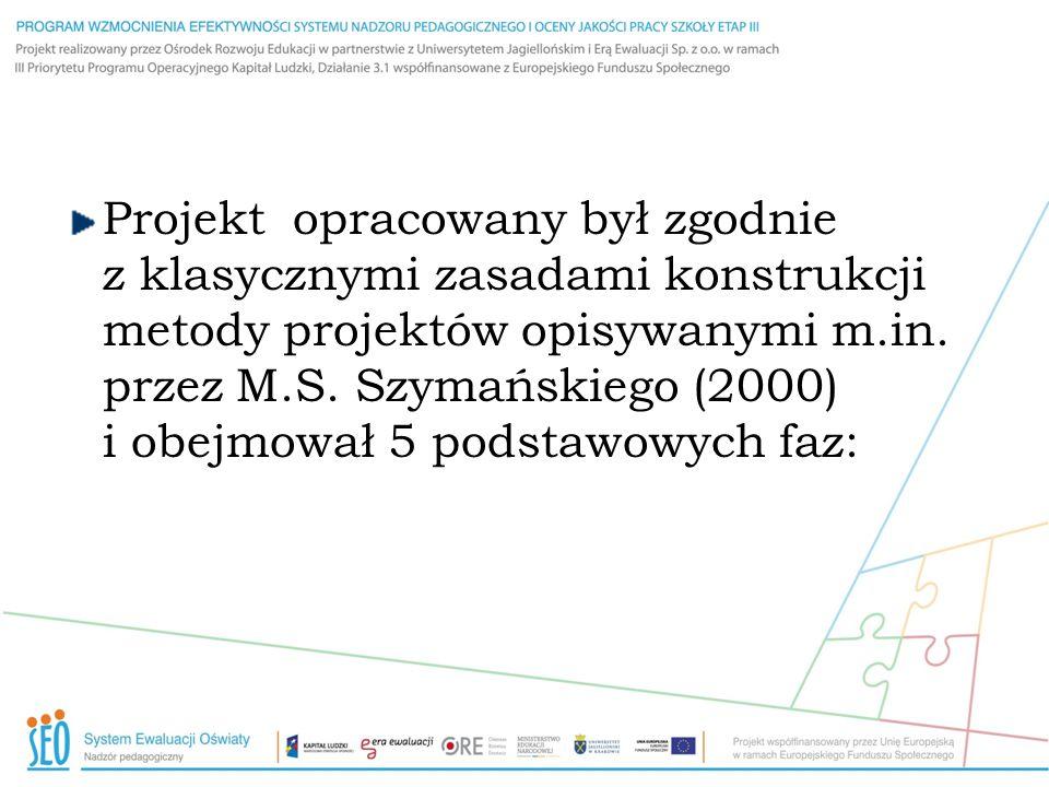 Projekt opracowany był zgodnie z klasycznymi zasadami konstrukcji metody projektów opisywanymi m.in. przez M.S. Szymańskiego (2000) i obejmował 5 pods