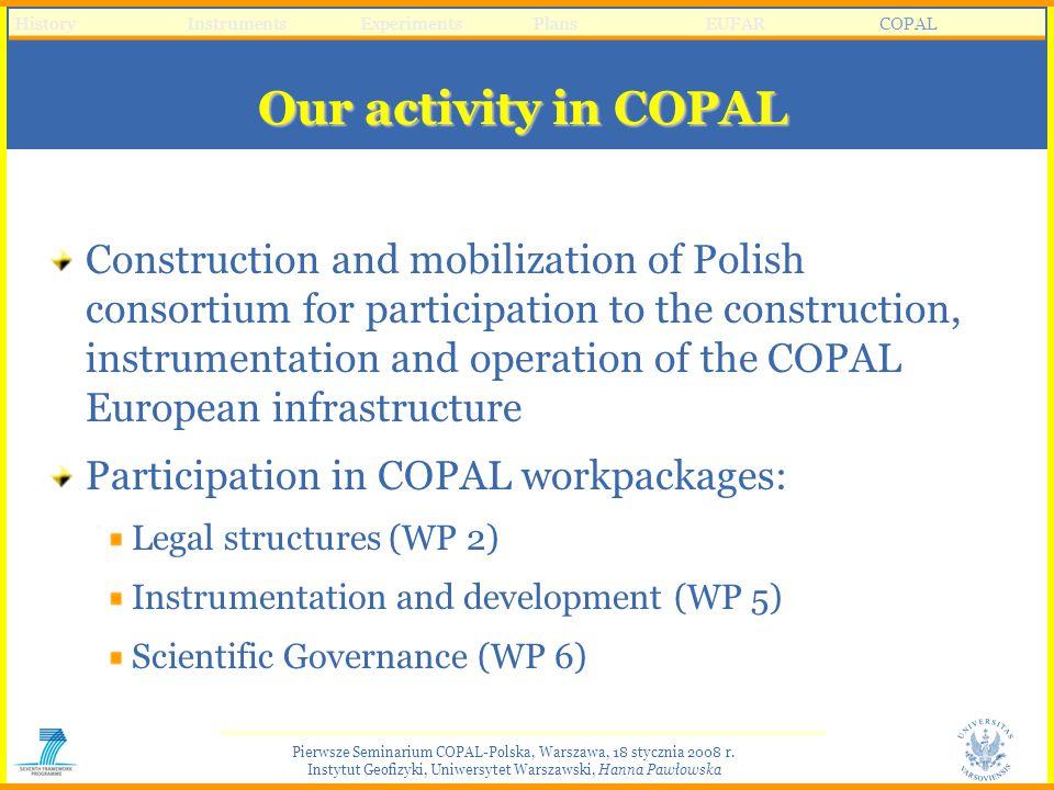 Pierwsze Seminarium COPAL-Polska, Warszawa, 18 stycznia 2008 r. Instytut Geofizyki, Uniwersytet Warszawski, Hanna Pawłowska Our activity in COPAL Cons