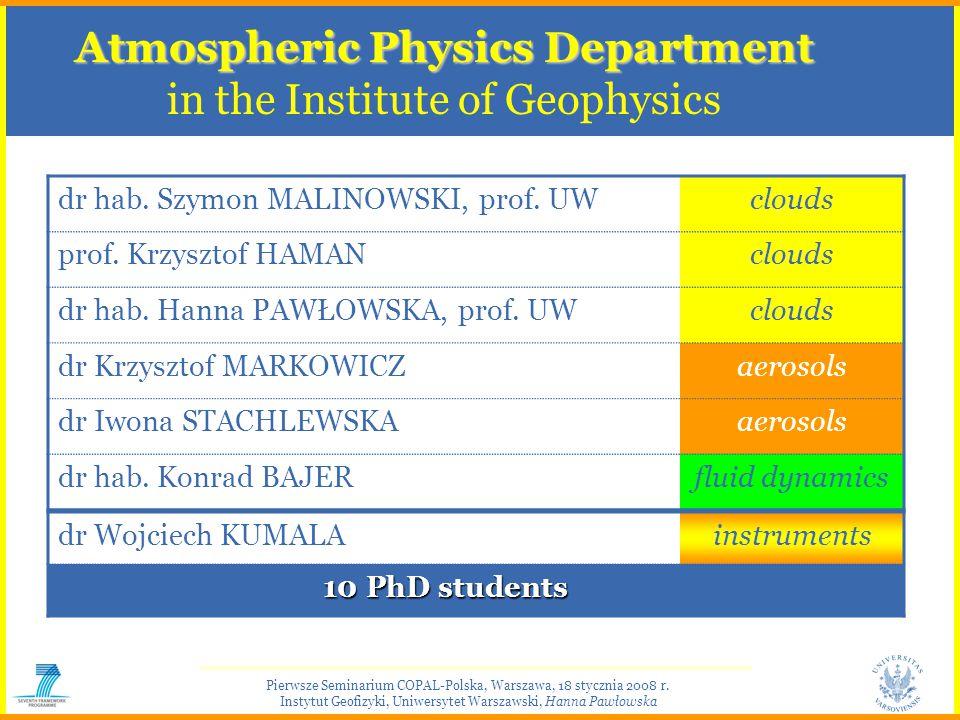 Pierwsze Seminarium COPAL-Polska, Warszawa, 18 stycznia 2008 r. Instytut Geofizyki, Uniwersytet Warszawski, Hanna Pawłowska Atmospheric Physics Depart
