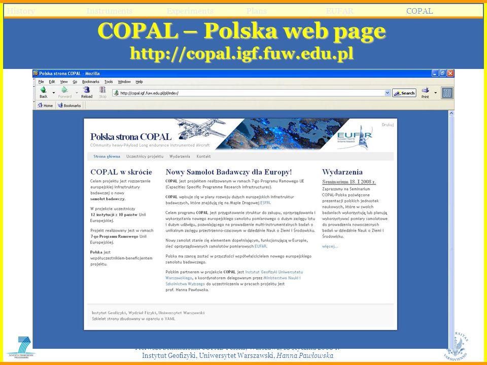 Pierwsze Seminarium COPAL-Polska, Warszawa, 18 stycznia 2008 r. Instytut Geofizyki, Uniwersytet Warszawski, Hanna Pawłowska COPAL – Polska web page ht
