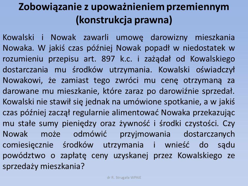Zobowiązanie z upoważnieniem przemiennym (konstrukcja prawna) Kowalski i Nowak zawarli umowę darowizny mieszkania Nowaka. W jakiś czas później Nowak p