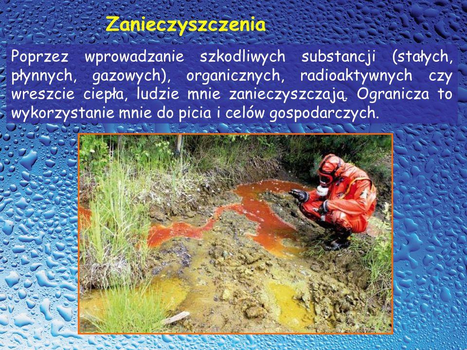 Poprzez wprowadzanie szkodliwych substancji (stałych, płynnych, gazowych), organicznych, radioaktywnych czy wreszcie ciepła, ludzie mnie zanieczyszcza