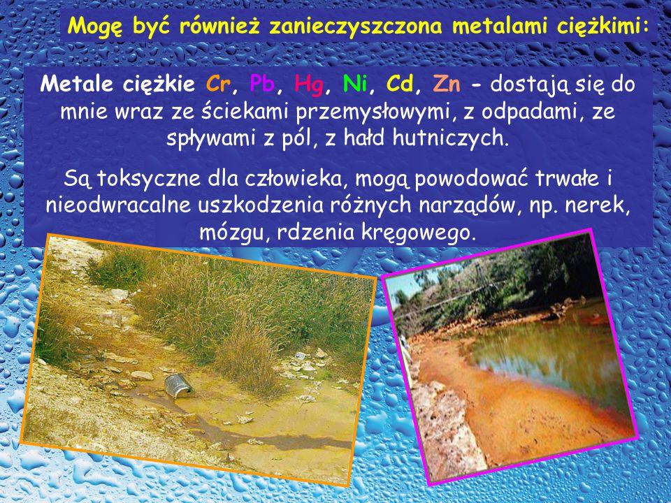 Metale ciężkie Cr, Pb, Hg, Ni, Cd, Zn - dostają się do mnie wraz ze ściekami przemysłowymi, z odpadami, ze spływami z pól, z hałd hutniczych.