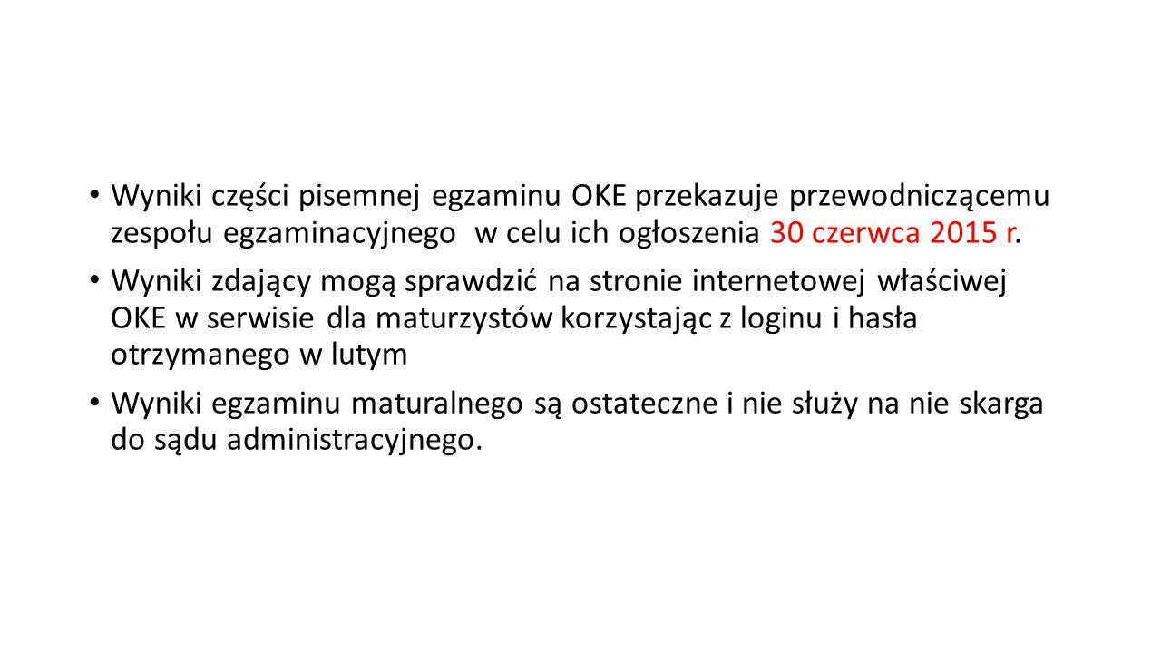 Wyniki części pisemnej egzaminu OKE przekazuje przewodniczącemu zespołu egzaminacyjnego w celu ich ogłoszenia 30 czerwca 2015 r.