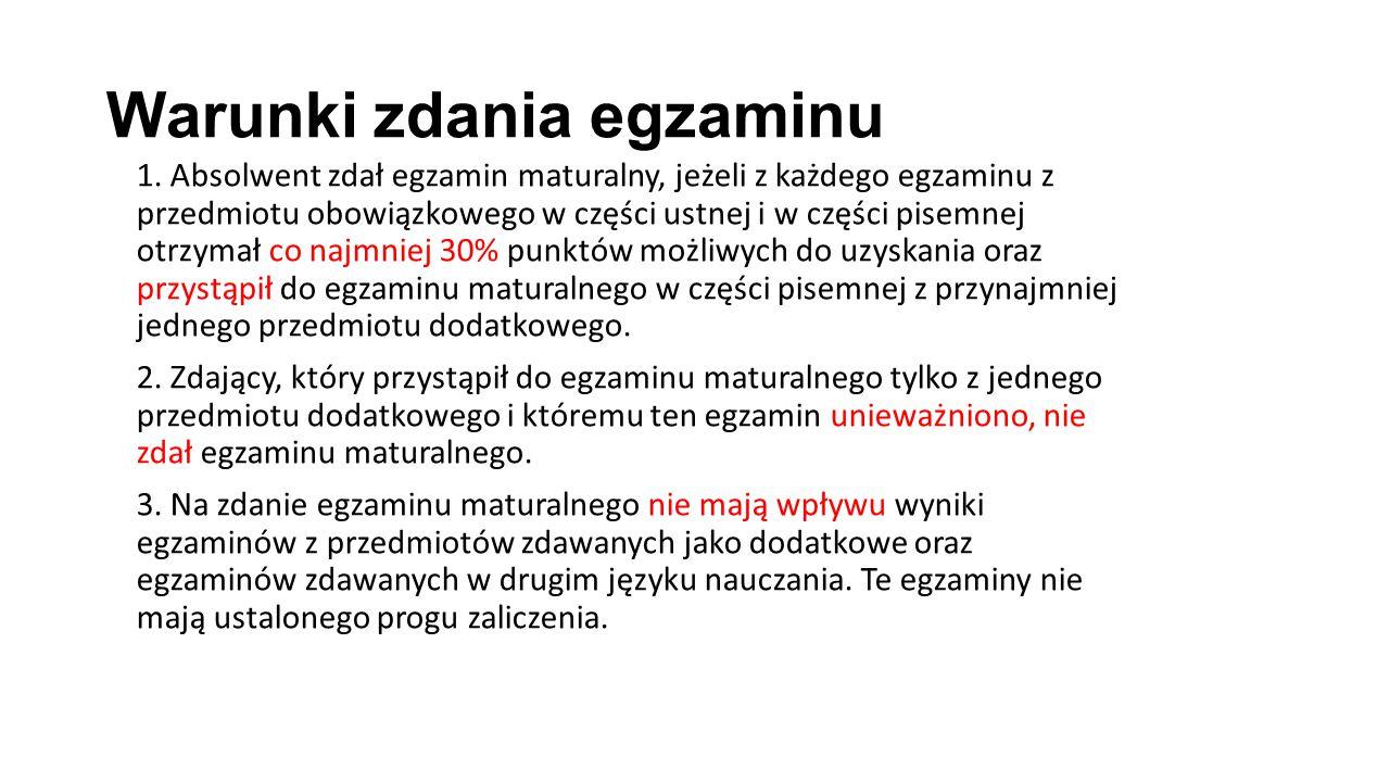 Warunki zdania egzaminu 1.