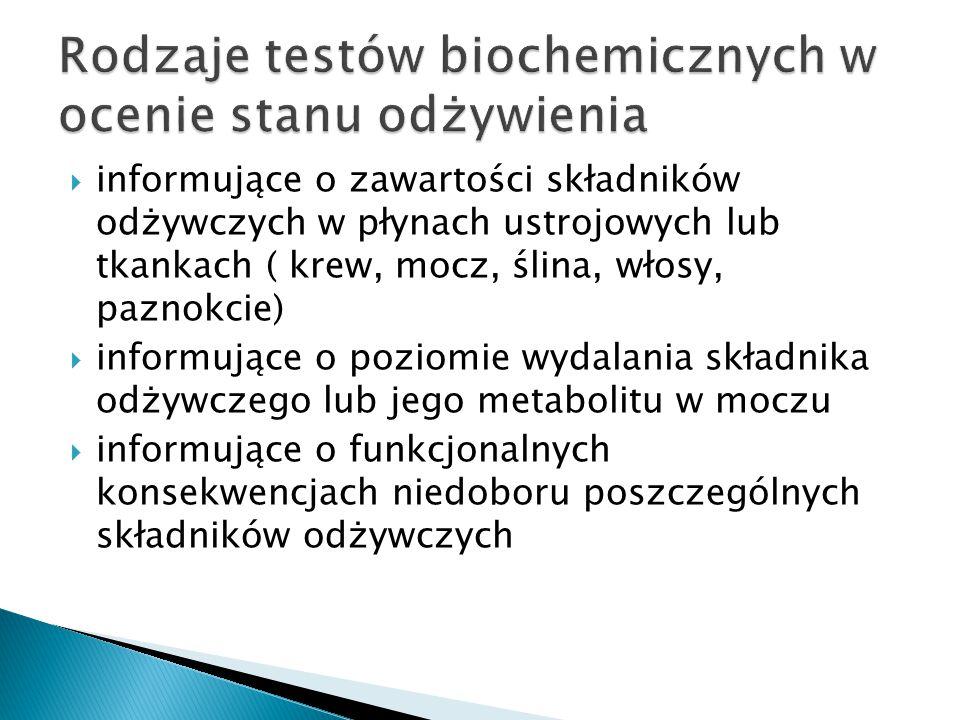  oceniające stan odżywienia białkowego  oceniające stan odżywienia witaminowego  oceniające stan odżywienia w składniki mineralne (Fe, Cu, Zn, Se)  oceniające stan organizmu związany z jego gospodarka lipidową