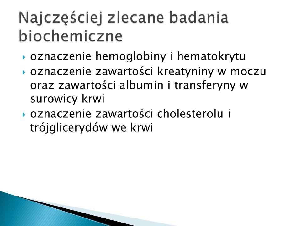  oznaczenie hemoglobiny i hematokrytu  oznaczenie zawartości kreatyniny w moczu oraz zawartości albumin i transferyny w surowicy krwi  oznaczenie zawartości cholesterolu i trójglicerydów we krwi