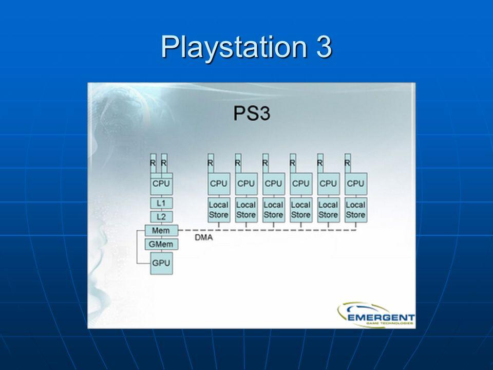Cell Procesor taktowany 3.2 GHz Cell Procesor taktowany 3.2 GHz 1 rdzeń PPE (Power Processor Element) dwuwątkowy – zajmuje się przydzielaniem zadań dla SPE 1 rdzeń PPE (Power Processor Element) dwuwątkowy – zajmuje się przydzielaniem zadań dla SPE 8 rdzeni SPE (Synergistic Processor Elements) jednowątkowe – 1 nieużywany, 1 dedykowany na OS 8 rdzeni SPE (Synergistic Processor Elements) jednowątkowe – 1 nieużywany, 1 dedykowany na OS 256 MB 3.2 GHz XDR dla CPU 256 MB 3.2 GHz XDR dla CPU 256 MB 700 MHz GDDR3 dla GPU 256 MB 700 MHz GDDR3 dla GPU