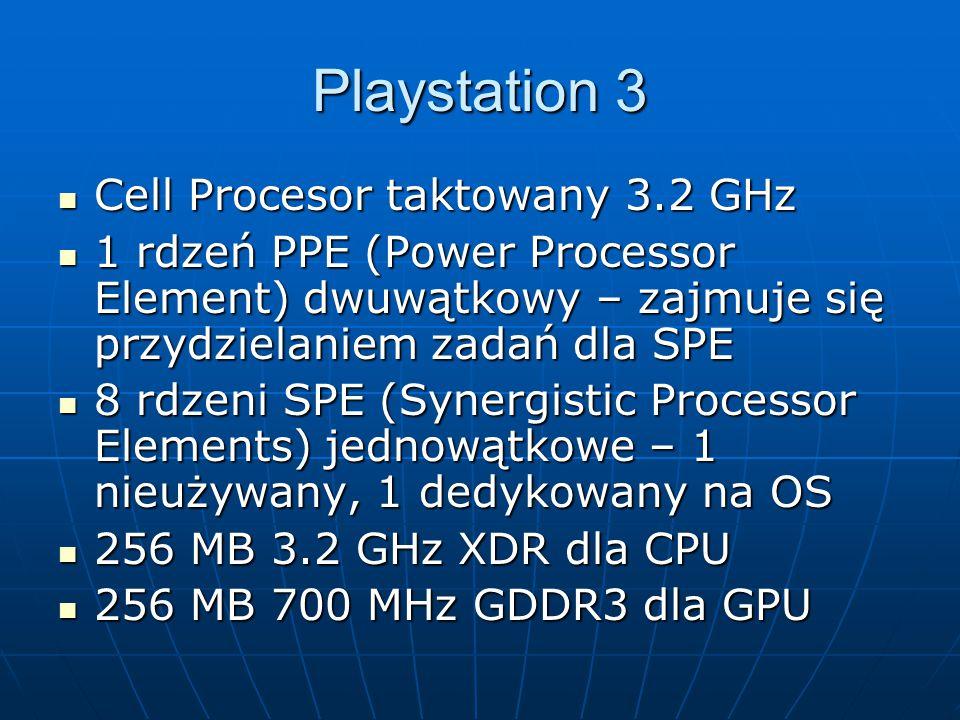 Cell Procesor taktowany 3.2 GHz Cell Procesor taktowany 3.2 GHz 1 rdzeń PPE (Power Processor Element) dwuwątkowy – zajmuje się przydzielaniem zadań dl