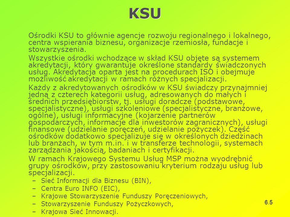 6.5 KSU Ośrodki KSU to głównie agencje rozwoju regionalnego i lokalnego, centra wspierania biznesu, organizacje rzemiosła, fundacje i stowarzyszenia.