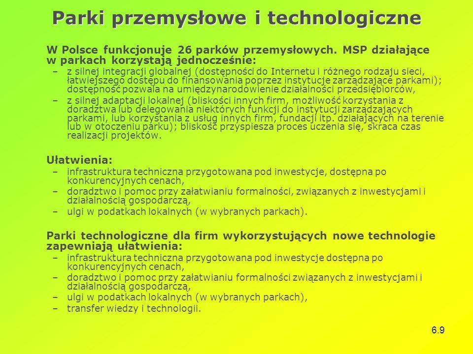 6.9 Parki przemysłowe i technologiczne W Polsce funkcjonuje 26 parków przemysłowych. MSP działające w parkach korzystają jednocześnie: –z silnej integ