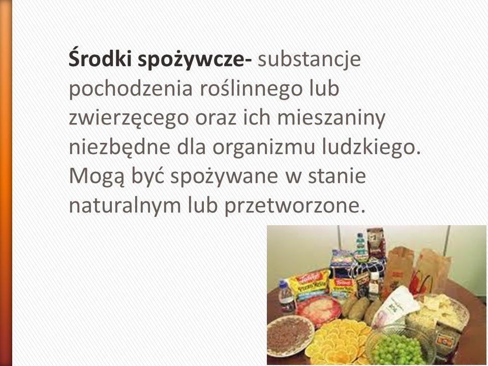 1.Podział środków spożywczych a)ze względu na pochodzenie -Roślinne -Zwierzęce -Mineralne b) Ze względu na skład chemiczny -Białkowe -Tłuszczowe -Węglowodanowe -Witaminowo-mineralne c) Ze względu na trwałość -Trwałe -nietrwałe