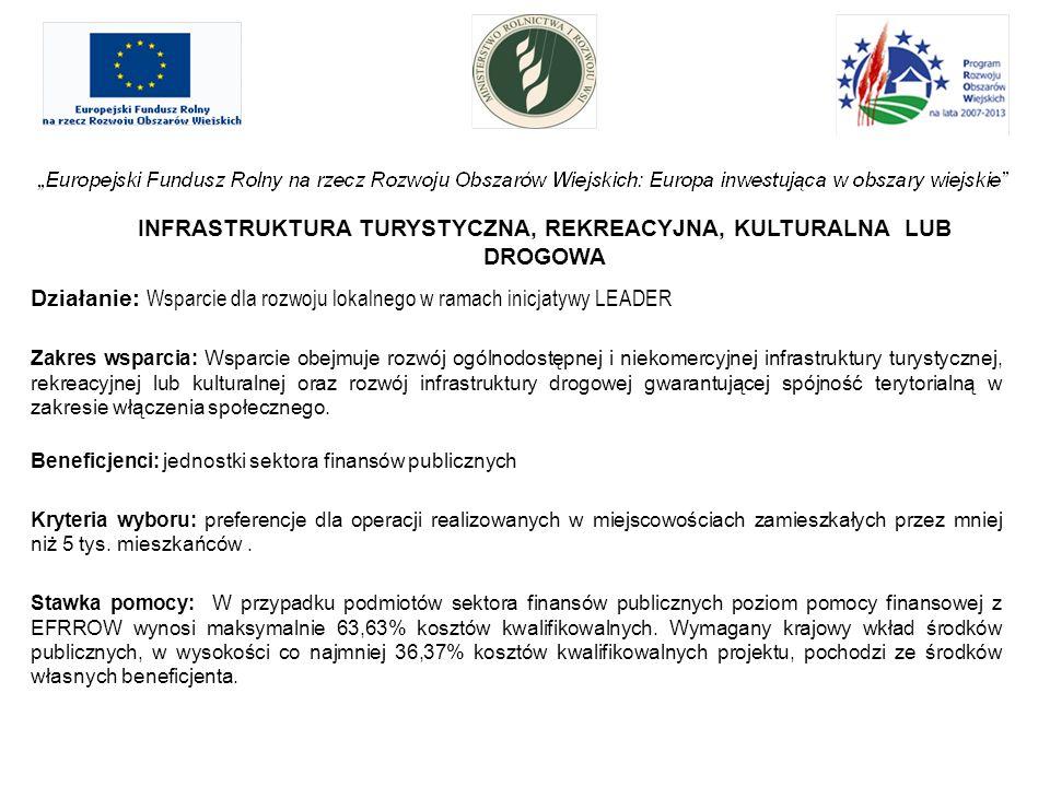 INFRASTRUKTURA TURYSTYCZNA, REKREACYJNA, KULTURALNA LUB DROGOWA Działanie: Wsparcie dla rozwoju lokalnego w ramach inicjatywy LEADER Zakres wsparcia: