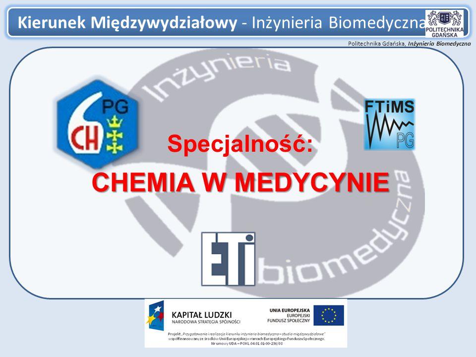 Politechnika Gdańska, Inżynieria Biomedyczna Chemia w medycynie 12 Nowa aparatura, urządzenia, oprogramowanie: -Konstrukcja glukometru – urządzenia do pomiaru stężenia glukozy we krwi -Projekt akumulatora do zasilania rozruszników serca -Projekt elementu o charakterze sztucznych mięśni wykorzystujących polimery elektroaktywne -Oprogramowanie systemów dozująco-pomiarowych do pomiarów ciągłych -Oprogramowanie do systemowej analizy wyników pomiarowych -Wykorzystanie modyfikowanych nanorurek węglowych do konstrukcji bioelektrod i enzymatycznych bioogniw Przykładowa tematyka prac inżynierskich zrealizowanych i realizowanych Nowe nanomateriały wyposażone w reaktywne grupy funkcyjne: -Chemiczna modyfikacja nanomateriałów typu magnetycznych tlenków żelaza -Chemiczne modyfikowanie nano-hydroksyapatytu -Syntezy nanomateriałów dotowanych fluoryzującymi związkami metali wewnętrzno-przejściowych