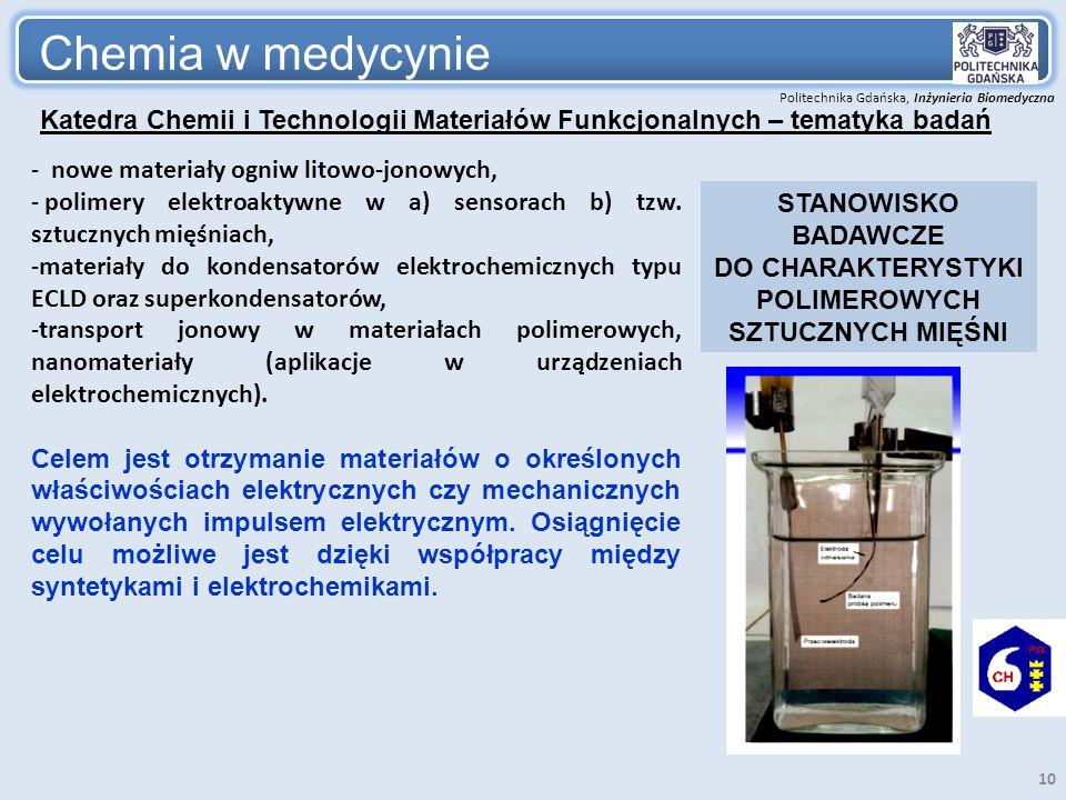 Politechnika Gdańska, Inżynieria Biomedyczna Chemia w medycynie 10 - nowe materiały ogniw litowo-jonowych, - polimery elektroaktywne w a) sensorach b)