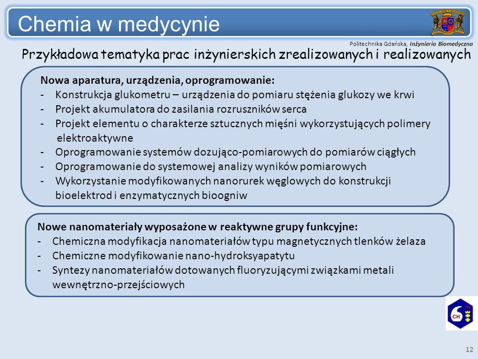 Politechnika Gdańska, Inżynieria Biomedyczna Chemia w medycynie 12 Nowa aparatura, urządzenia, oprogramowanie: -Konstrukcja glukometru – urządzenia do