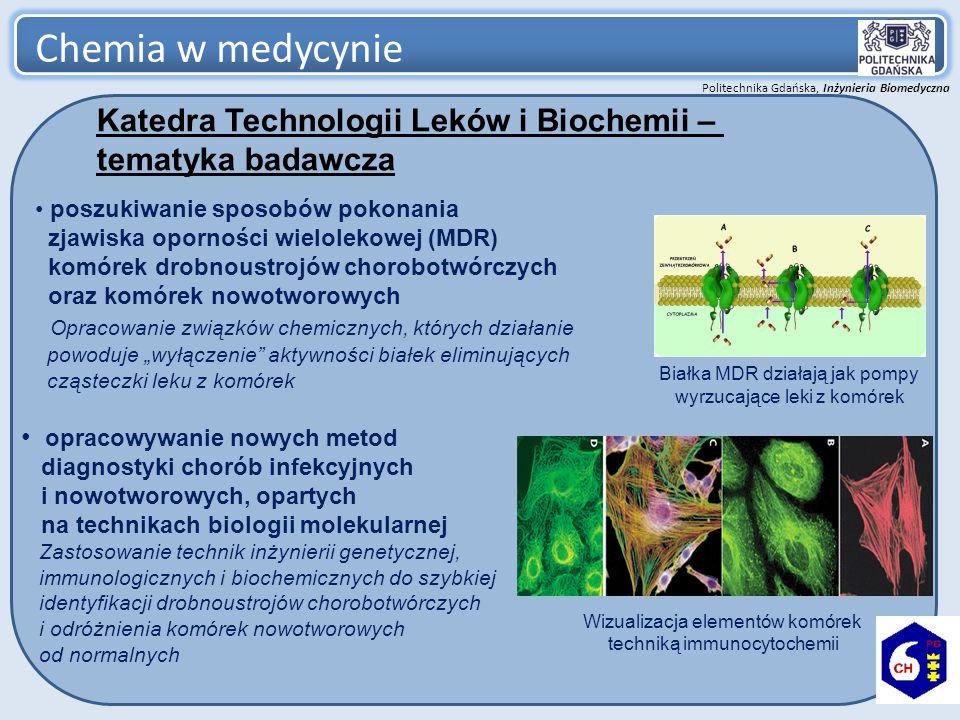 Politechnika Gdańska, Inżynieria Biomedyczna Chemia w medycynie 6 Katedra Mikrobiologii * – tematyka badawcza Zastosowanie współczesnych metod diagnostyki molekularnej w medycynie mikrobiologicznej.