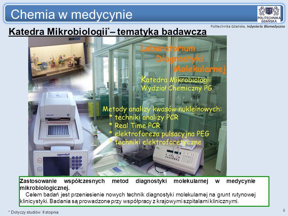 Politechnika Gdańska, Inżynieria Biomedyczna Chemia w medycynie 6 Katedra Mikrobiologii * – tematyka badawcza Zastosowanie współczesnych metod diagnos