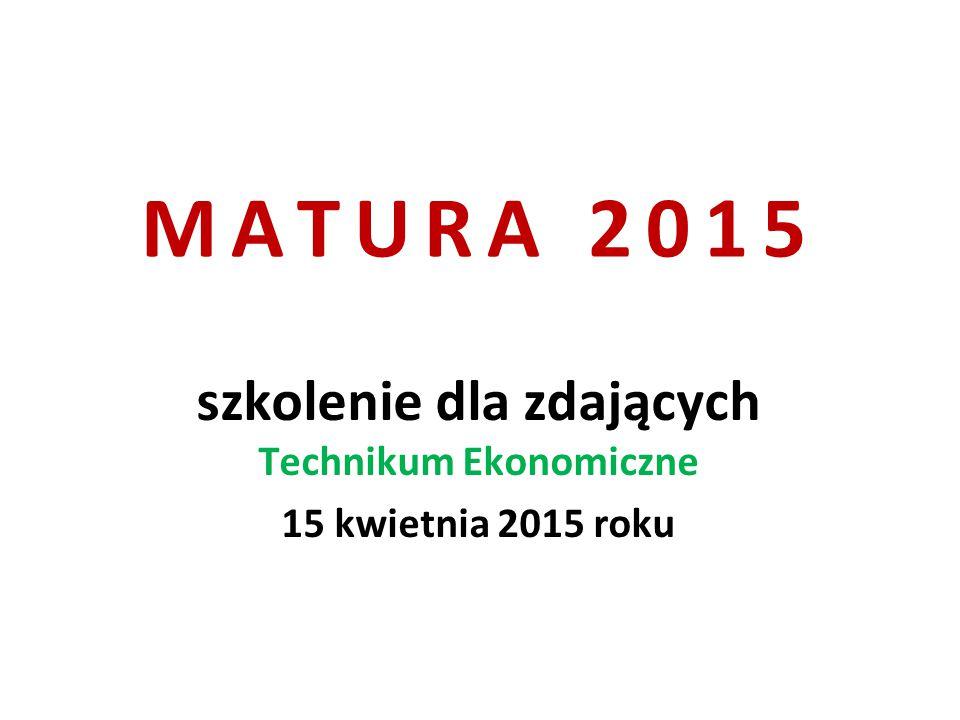 MATURA 2015 szkolenie dla zdających Technikum Ekonomiczne 15 kwietnia 2015 roku
